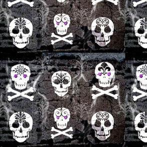 Pirate Skull White on Gray