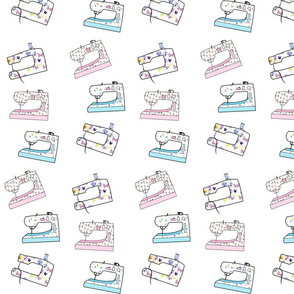 Sewing Machine Fabric Blue, Pink & Butterflies