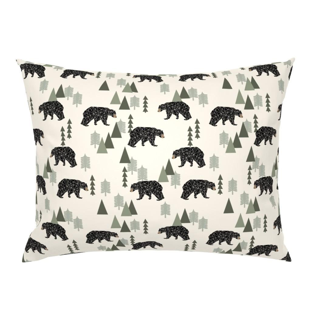 Campine Pillow Sham featuring forest bear // cream green neutral baby nursery boys forest mountain woodland geometric bear by andrea_lauren