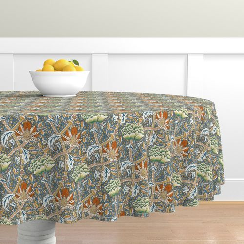 Floral Round Tablecloth William Morris Single Stem by peacoquettedesigns Victorian Damask Cotton Sateen Circle Tablecloth by Spoonflower