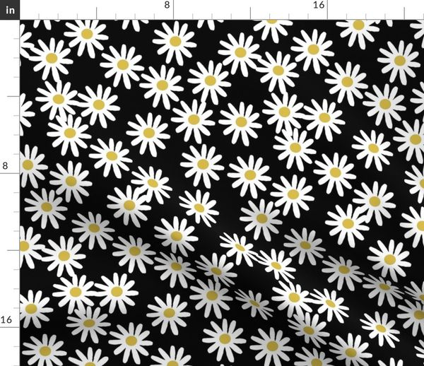 fabric by the yard daisy daisies flowers florals flower black and white simple 90s design