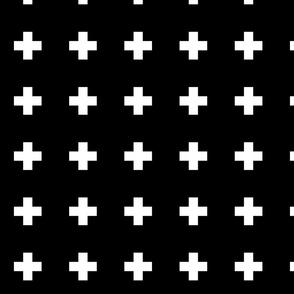 Swiss Cross in white on black, medium