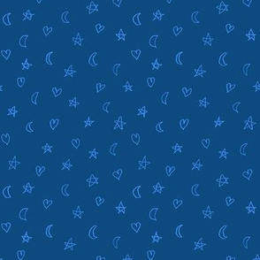 hearts, moons and stars in cyan on blue
