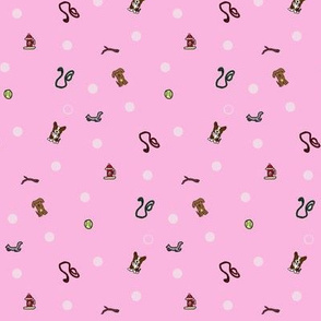 Dog park Ditsy print - pink