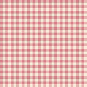 cream and coral gingham