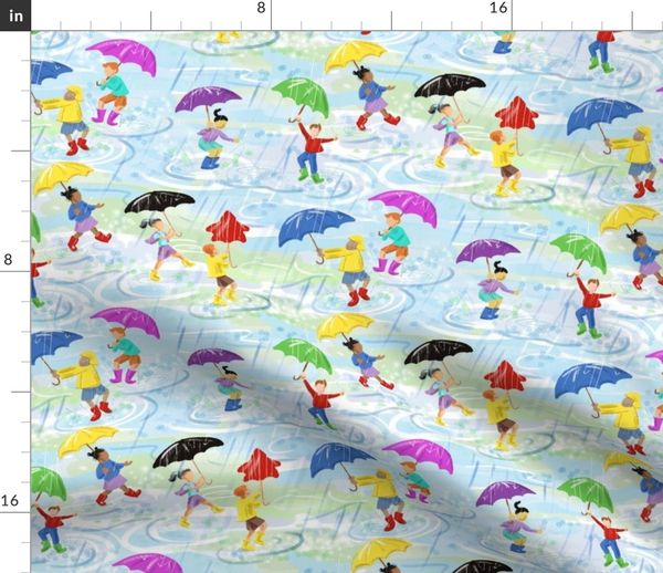 quality design d5fed a79f9 Stoff-Meterware Regenschirm, Gummistiefel, Gummiestiefel, Stiefel,  regnerisch, Sonnenschirm, Galoschen, Blau und Grün