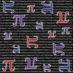 Digits of Pi (Red, Blue, Purple, Black)