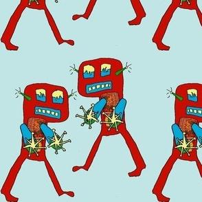 The Destructo Twins-blue background