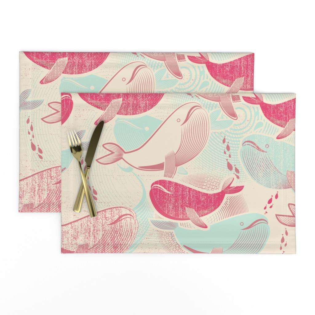 Lamona Cloth Placemats featuring The Whales Reunion by chickoteria