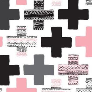 Plus cross geometric aztec modern pink patterns