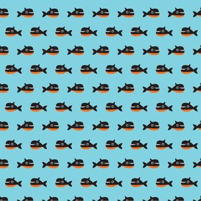 Cute little whale funny fish print