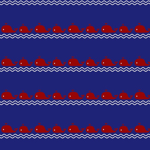 Medium Nautical Mama Whales on Blue