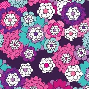 Violet retro flowers pattern