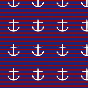 large nautical Anchors on Classic Stripes