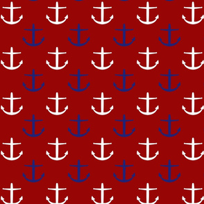 Large Blue and White Anchors on Red