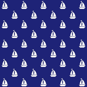 Large White Sailboats on Blue