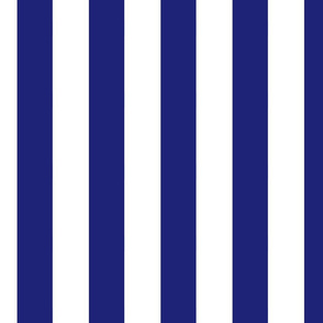 Large Vertical Stripes in Nautical Blue and White