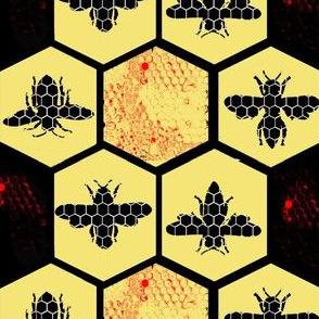 Honey Comb & Bees, Black & Yellow Hexagon