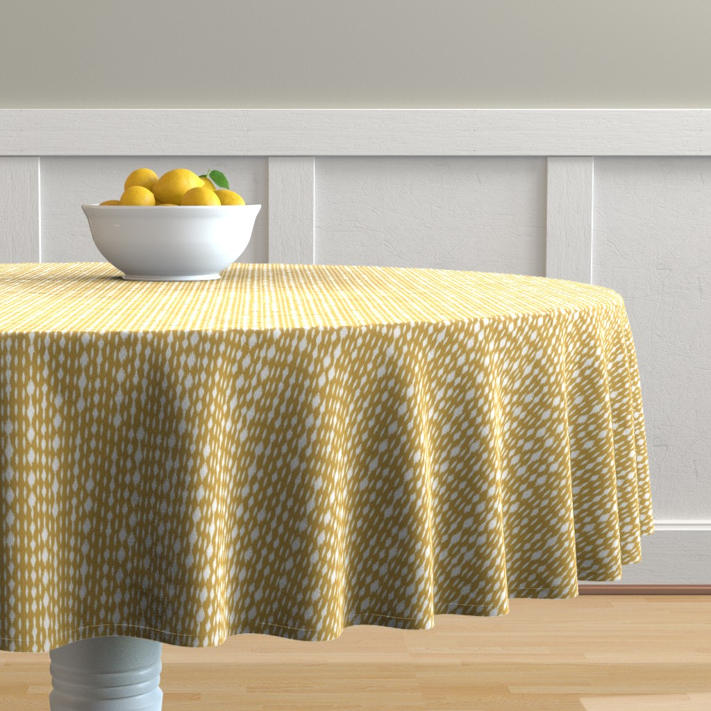 Malay Round Tablecloth featuring Yellow & White Spotty Stripes by bohemiangypsyjane