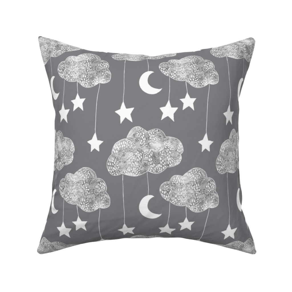 Catalan Throw Pillow featuring Sailing Dreams Clouds  in Charcoal grey by emilysanford