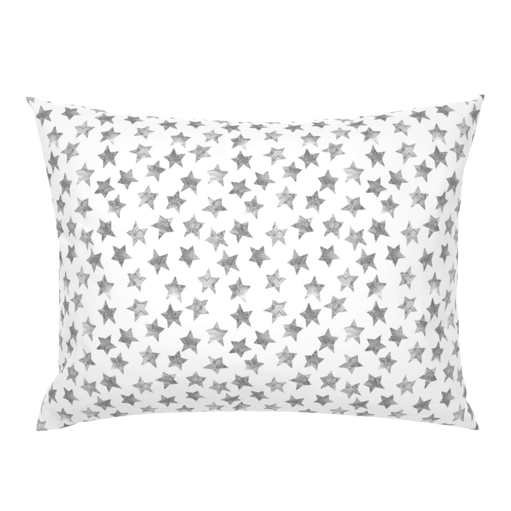 Campine Pillow Sham featuring Starry Watercolor Dreams in Grey by emilysanford