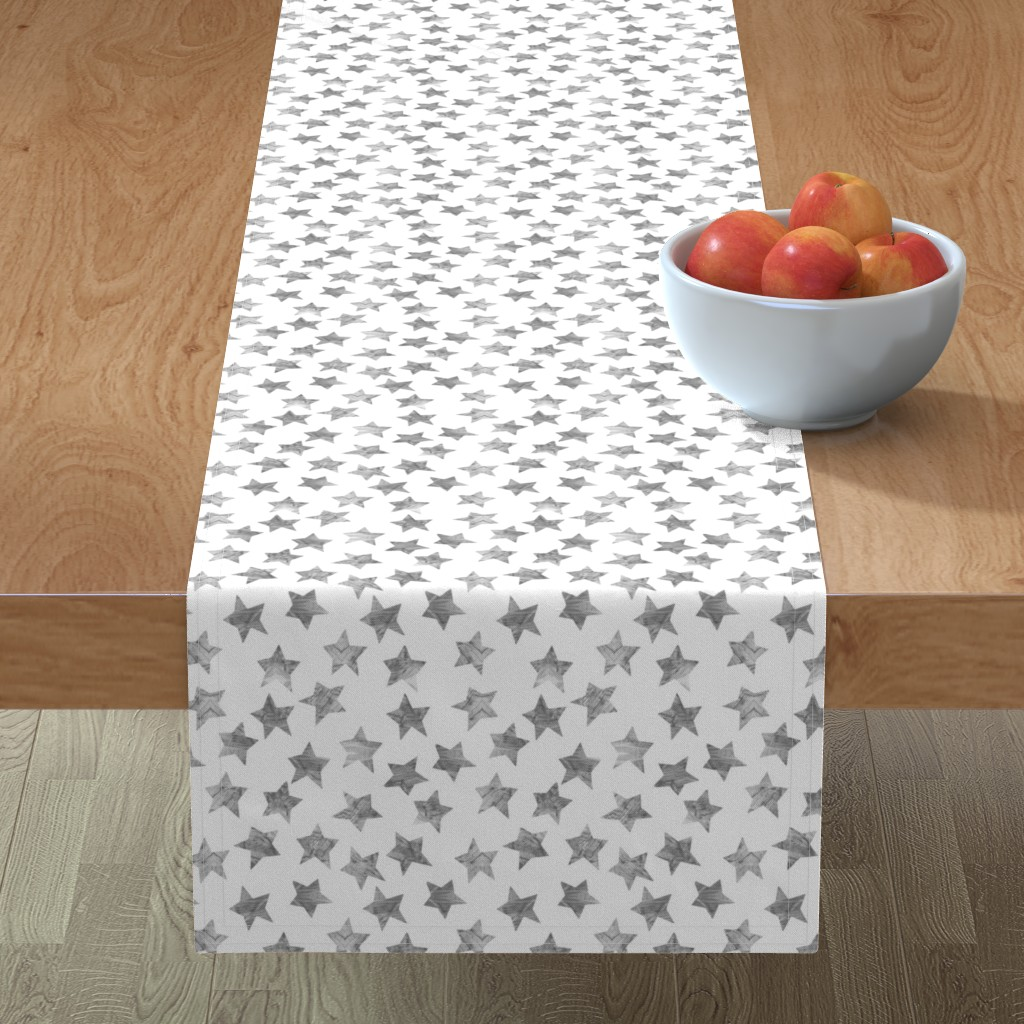 Minorca Table Runner featuring Starry Watercolor Dreams in Grey by emilysanford