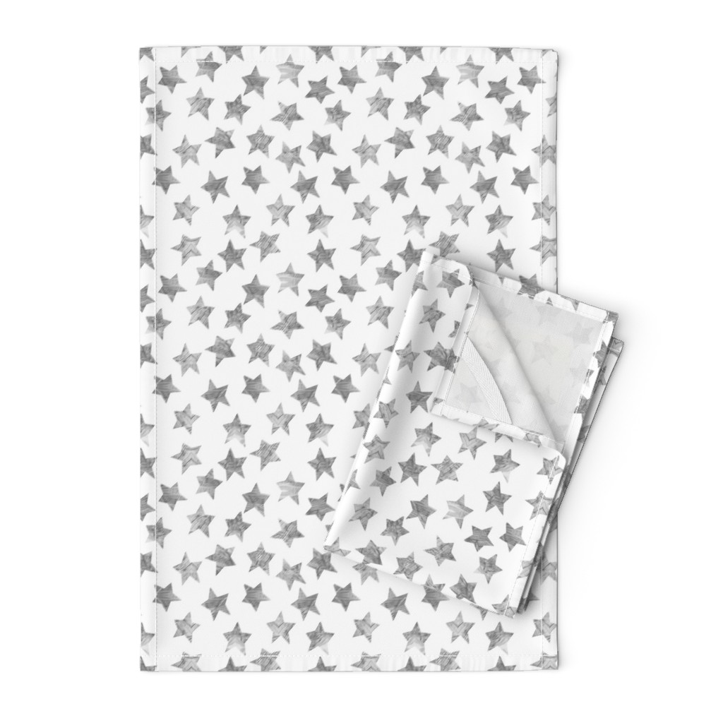 Orpington Tea Towels featuring Starry Watercolor Dreams in Grey by emilysanford
