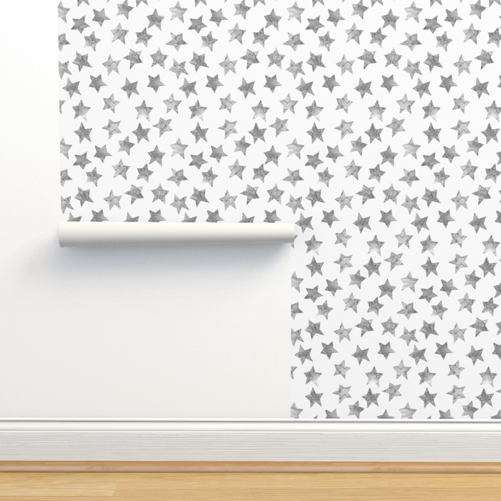Isobar Durable Wallpaper featuring Starry Watercolor Dreams in Grey by emilysanford