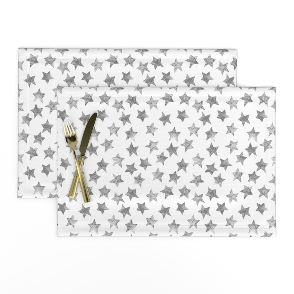 Lamona Cloth Placemats featuring Starry Watercolor Dreams in Grey by emilysanford