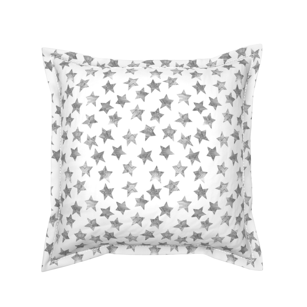 Serama Throw Pillow featuring Starry Watercolor Dreams in Grey by emilysanford
