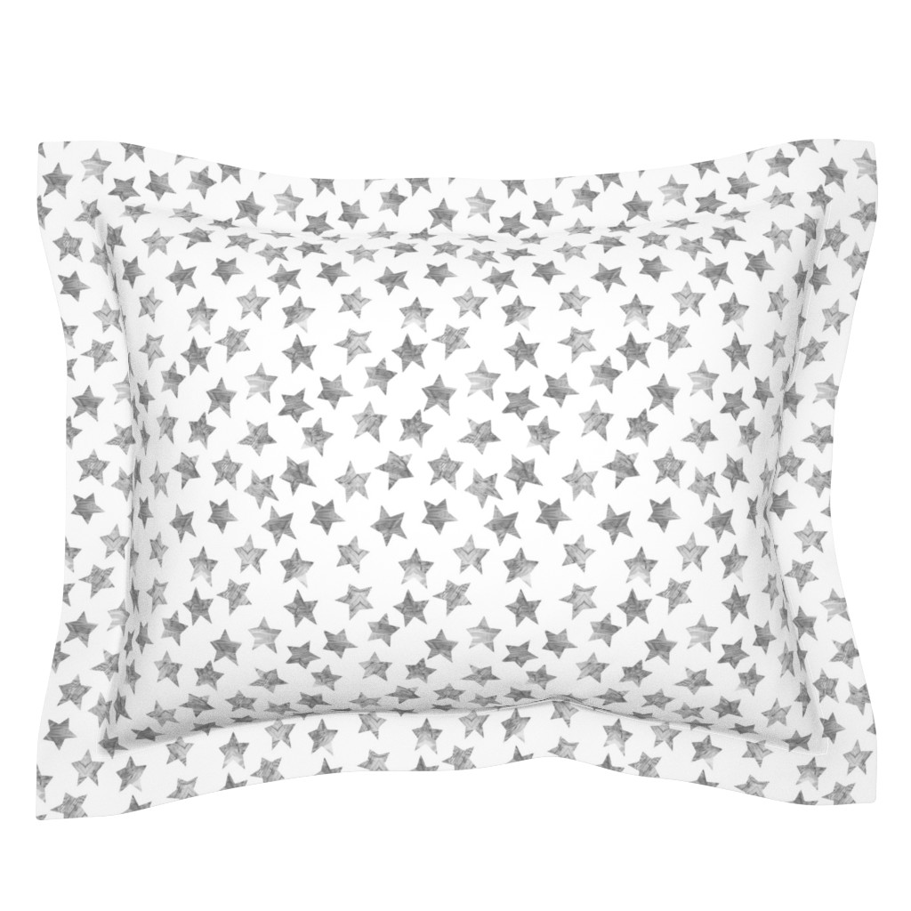 Sebright Pillow Sham featuring Starry Watercolor Dreams in Grey by emilysanford