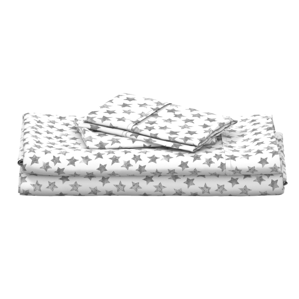Langshan Full Bed Set featuring Starry Watercolor Dreams in Grey by emilysanford
