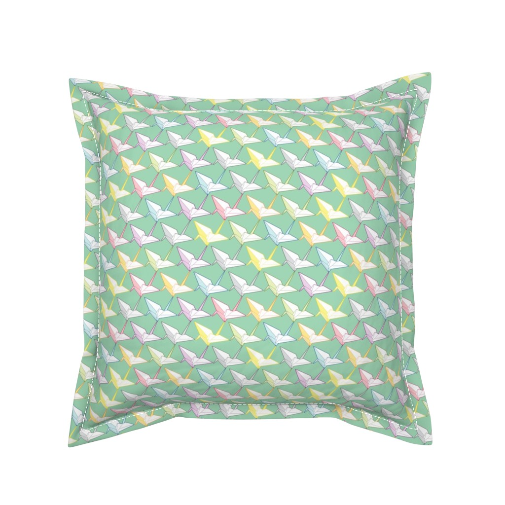 Serama Throw Pillow featuring One thousand cranes by candyjoyce