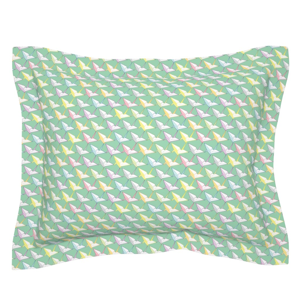 Sebright Pillow Sham featuring One thousand cranes by candyjoyce