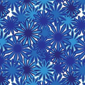 Hippie-Dippie daisies -- sapphire and dark blues