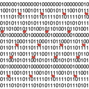 I Love You in Binary Black and White with Red Hearrts