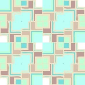 Pastel Mondrianesque -- aqua and tans dominating