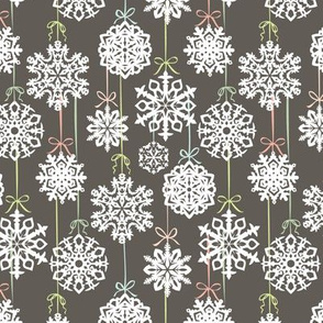 12 Joys of Christmas Snowflakes: Gray