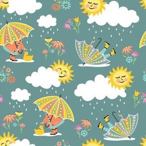 Umbrella Play: Blue-Gray