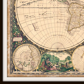 vintage world map 2, large
