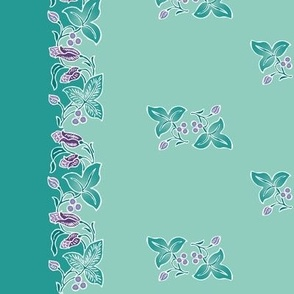 Naturalistic-flower-border dress-fabric-whtlns-VECTOR-mgrn-lavs-SAGE-w-sprigs-150-12x60in-WAVY-rotated