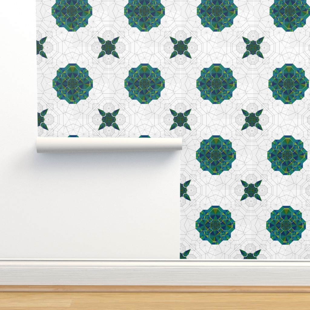Isobar Durable Wallpaper featuring Origami Map Green by candyjoyce