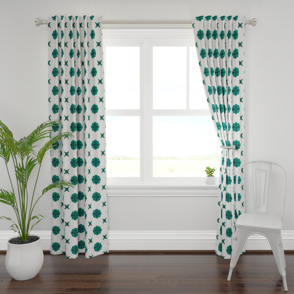 Plymouth Curtain Panel featuring Origami Map Green by candyjoyce