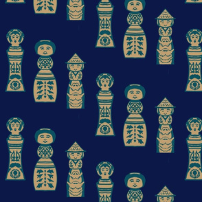 Kokeshi teal on navy