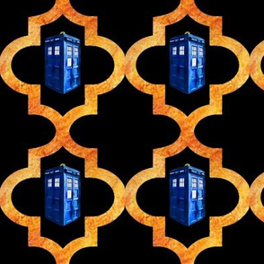 Blue Police Box Doors Orange Black Quatrefoil