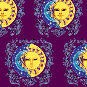 Sun and Moon with scroll work, Plum
