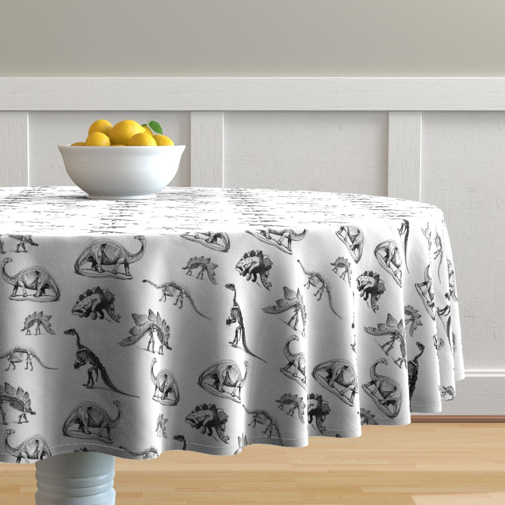 Malay Round Tablecloth featuring Museum Animals, Dinosaur Skeletons, Black and White Dino by bohobear