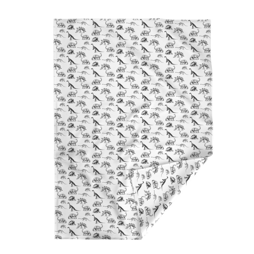 Lakenvelder Throw Blanket featuring Museum Animals, Dinosaur Skeletons, Black and White Dino by bohobear