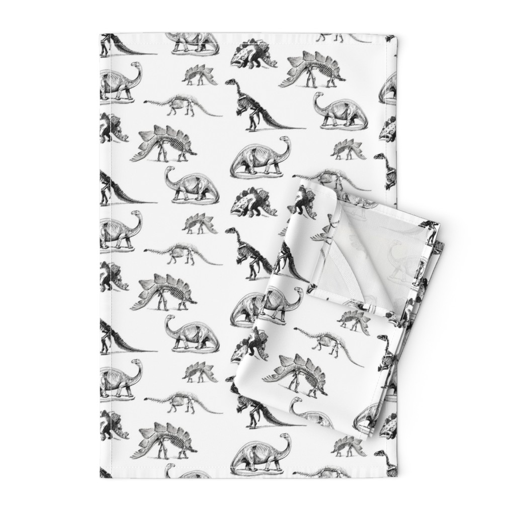 Orpington Tea Towels featuring Museum Animals, Dinosaur Skeletons, Black and White Dino by bohobear
