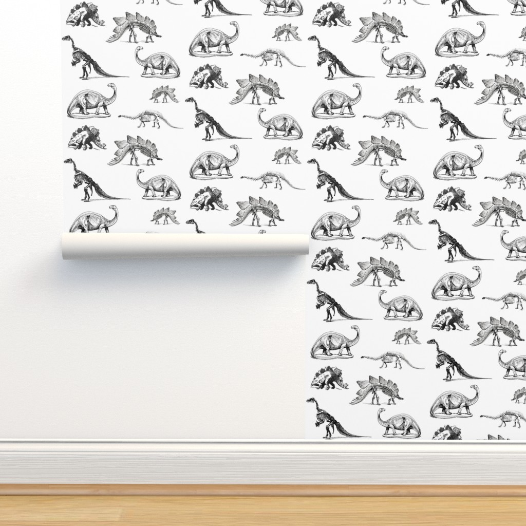 Isobar Durable Wallpaper featuring Museum Animals, Dinosaur Skeletons, Black and White Dino by bohobear